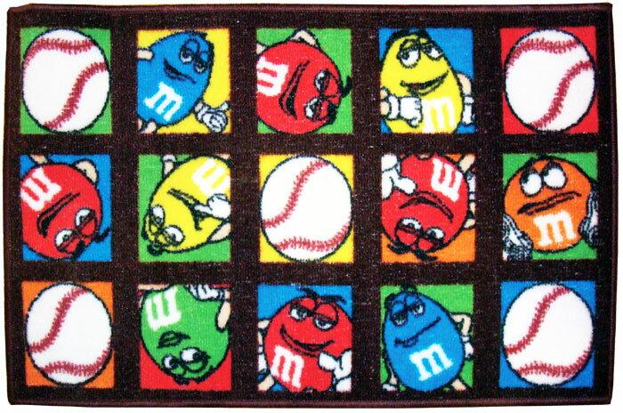 ◎【M&M's/エムアンドエムズ】 ラグ・マット【ベースボール】 Sサイズ(78×50cm) アメリカン雑貨・アメリカ雑貨・アメ雑・カンパニーグッズ