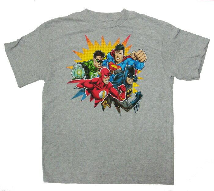 【DCコミックス】ジャスティスリーグ BOYS Tシャツ【グレー】 Lサイズバットマン・スーパーマン・グリーンランタン・ザ フラッシュ
