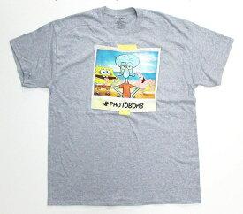【スポンジ・ボブ/SPONGE BOB】大人・メンズ Tシャツ 『#PHOTOBOMB/Mサイズ (杢GY)』 アメキャラ・ニコロデオン・スポンジボブ・パトリック・イカルド