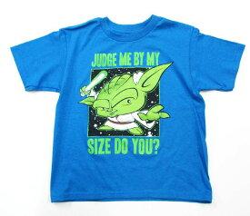 【スターウォーズ/Star Wars】キッズ・ジュニア Tシャツ『ヨーダ・JUDGE ME BY MY SIZE DO YOU?/4Tサイズ(ライトBL)』ジェダイ・アメキャラ・映画・キャラクター・子供用