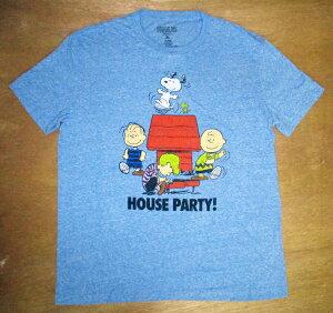 スヌーピー snoopy大人・メンズ TシャツHOUSE PARTY! XLサイズ(杢RB)ピーナッツ peanuts アメキャラ キャラクターTシャツ ネイビー アメT アメ雑