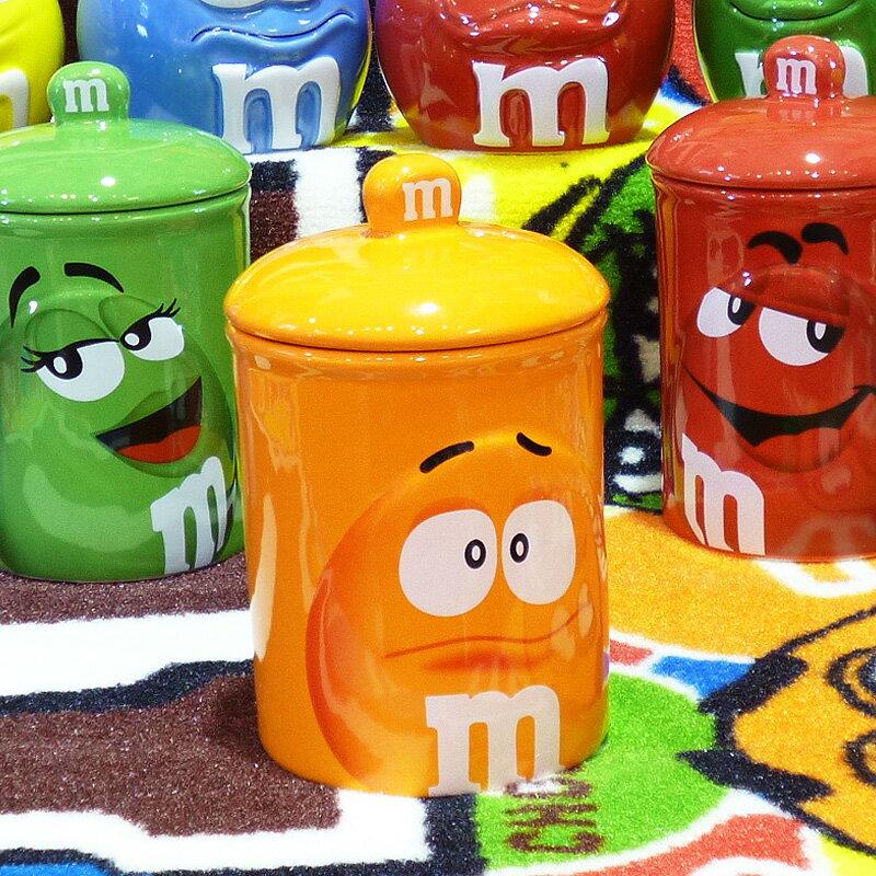 ◎【 m&m's / エムアンドエムズ】 クッキージャー 【オレンジ】 陶器製 アメリカン雑貨・アメリカ雑貨・アメ雑