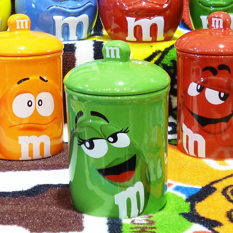 ◎【 m&m's / エムアンドエムズ】 クッキージャー 【グリーン】 陶器製 アメリカン雑貨・アメリカ雑貨・アメ雑