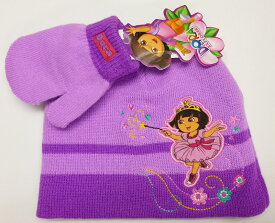 ◎【DORA the EXPLORER】ドーラといっしょに大冒険 キッズ ニット帽 &手袋SET(パープル)ビーニー・ニットキャップ