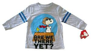 【スヌーピー/SNOOPY】 キッズ・ジュニア ロングTシャツ『フライングエース ARE WE THERE YET?/2T(GY)』 ピーナッツ・peanuts・アメキャラ・・アメリカン雑貨