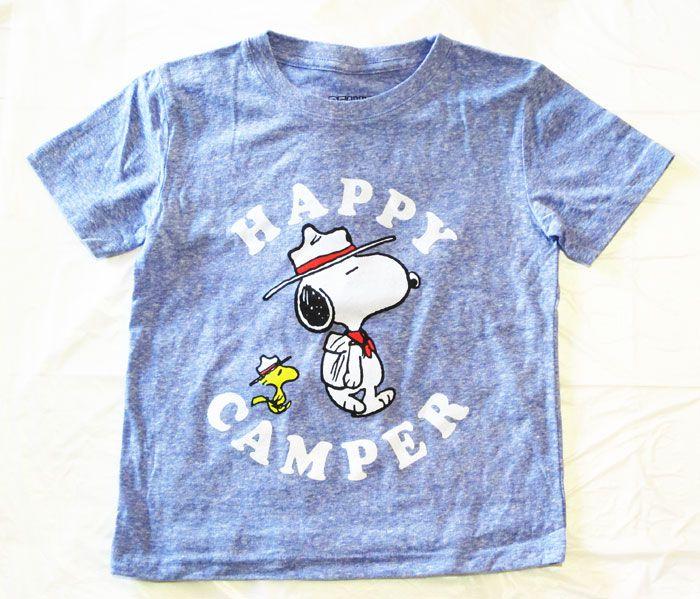 【スヌーピー/SNOOPY】キッズ・ジュニア Tシャツ『HAPPY CAMPER・白文字/5T(杢パステルBL)』ピーナッツ・peanuts・アメキャラ・アメリカン雑貨