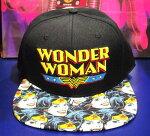 【DC】キャップ・帽子『ワンダーウーマン/ツバ・総柄』wonderwoman・アメコミ・アメキャラ
