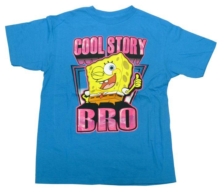 【スポンジ・ボブ/SPONGE BOB】大人・レディース Tシャツ 『COOL STORY BRO/ユースLサイズ (ライトBL)』 アメキャラ・ニコロデオン・スポンジボブ