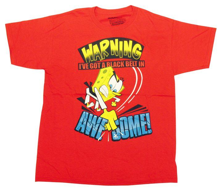 【スポンジ・ボブ/SPONGE BOB】キッズ・ジュニア Tシャツ 『WARNING AWESOME/4/5Tサイズ (RE)』 空手・アメキャラ・ニコロデオン