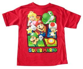 【スーパーマリオ/SUPER MARIO】キッズ・ジュニア Tシャツ『キャラクター 7分割 (RE)』※ワケあり 任天堂・ゲーム・マリオ・ルイージ・キノピオ・ピーチ・ヨッシー・キャラクター