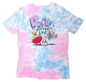 【ROCKO'S MODERN LIFE】大人・メンズ Tシャツ 『ロッコー&スパンキー/Mサイズ(タイダイ)』 ロッコーのモダンライフ・海外アニメ・アメキャラ・アメリカン雑貨・ニコロデオン・nikelodeon