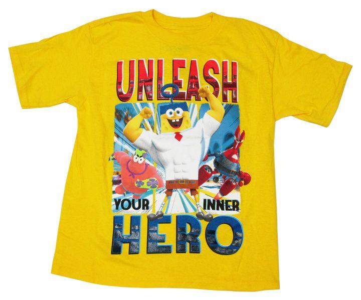 【スポンジ・ボブ/Sponge Bob】キッズ・ジュニアTシャツ『UNLEASH HERO/Sサイズ (YE)』スポンジボブ・アメキャラ・ニコロデオン