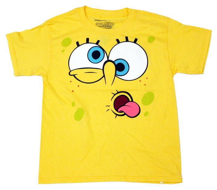 【スポンジ・ボブ/Sponge Bob】キッズ・ジュニアTシャツ『フェイス・舌だし (YE)』スポンジボブ・アメキャラ・ニコロデオン