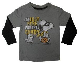 【スヌーピー/SNOOPY】キッズ・ジュニア ロングTシャツ『I'M JUST HERE FOR THE CANDY/18M(GY×BK)』 ピーナッツ・peanuts・ハロウィン・アメキャラ