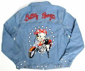 【ベティ・ブープ/ Betty Boop】大人・デニムジャケット『スクートバイカー(BL)』ベティちゃん ベティブープ キャラクター アメキャラ アメリカン雑貨 アメリカン雑貨 バイク ハーレー トップス 上着 デニム