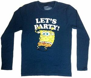 〇【 スポンジ ボブ Sponge Bob 】『 LET'S PARTY ロング Tシャツ (BL) 』大人 メンズ レディース 長袖 かわいい 人気 おすすめ おしゃれ おしゃれ ファッション スポンジボブ アメキャラ ニコロデオ
