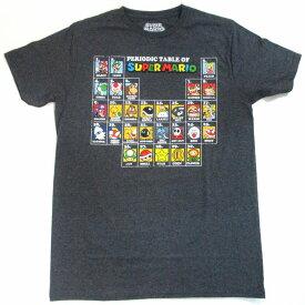 【スーパーマリオ/SUPER MARIO】大人・メンズ Tシャツ『Periodic Table of Heroes/Mサイズ (杢ダークGY・擦れ)』 ゲーム Nintendo ニンテンドウ 任天堂 ゲーム マリオ キャラクター キャラクターTシャツ グレー