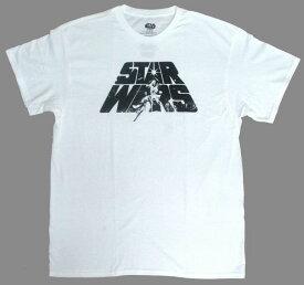 スターウォーズ/STAR WARS大人・レディーズTシャツロゴ(杢WH)キャラクター アメキャラ 映画 ディズニー Disney キャラクターTシャツ テーマパーク 白 ホワイト