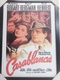 【Casablanca・カサブランカ】フレーム付ポスターアメリカ雑貨 アメ雑 映画 レトロ インテリア
