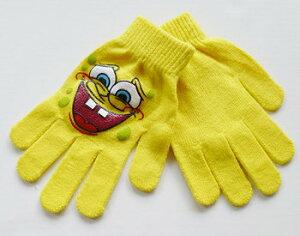 【 スポンジボブ SPONGE BOB 】キッズ 手袋 スマイル子供 かわいい 黄色 イエロー 冬物