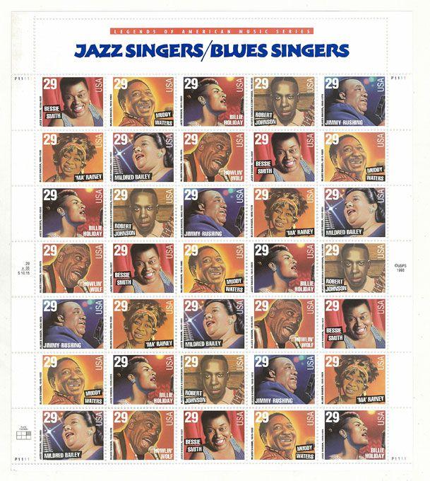 【切手】『JAZZ SINGER/BLUES SINGER』LEGEND OF AMERICAN MUSIC SERIES・レジェンドオブアメリカンミュージックシリーズ・コレクション