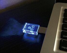 【ゆうパケットにて送料無料】djs+オリジナル!青く光る クリスタル USBメモリー 8GB