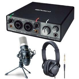 《 レビューでプレゼント特典 》Roland オーディオインターフェイス Rubix22 + ヘッドホン RH-5 + コンデンサーマイク MPM1000J セット