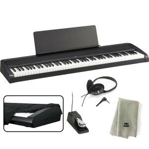 KORG 電子ピアノ B2 BK 88鍵 ブラック + ヘッドホン + ダストカバー + クリーニングクロス