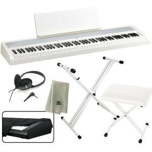 KORG 電子ピアノ B2 WH 88鍵 ホワイト + X型スタンド + ピアノ椅子 + ヘッドホン + ダストカバー + クリーニングクロス