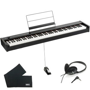 KORG コルグ 電子ピアノ D1 BK ブラック (88鍵) + ヘッドホン + 鍵盤カバー