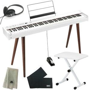 KORG 電子ピアノ D1 WH ホワイト (88鍵) + 木製スタンド + ピアノ椅子 + ヘッドホン + 鍵盤カバー + クリーニングクロス セット
