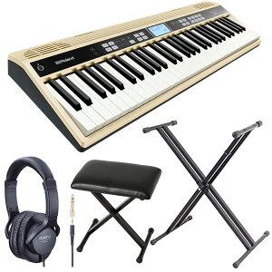 Roland ローランド 61鍵 ハーモニー&リズム練習用キーボード JUSTY HK-100 + キーボードスタンド + ピアノ椅子 + ヘッドホン セット