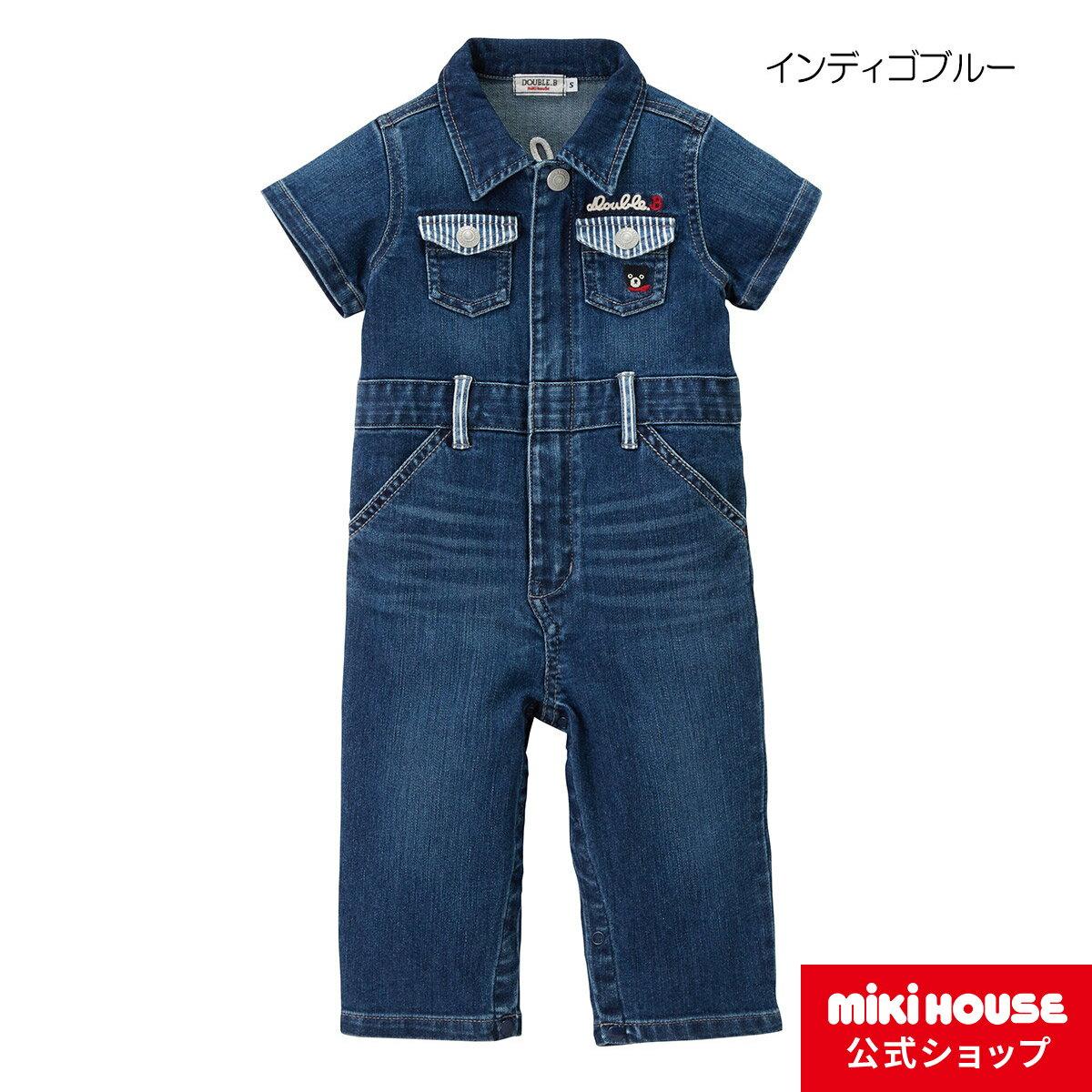 ミキハウス ダブルビー mikihouse 8オンスデニムの半袖カバーオール〈S-L(70cm-100cm)〉 バーゲン
