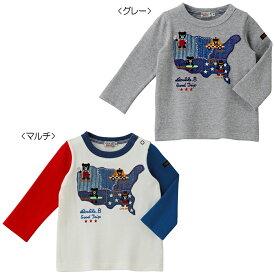 【アウトレット】ミキハウス ダブルビー mikihouse 旅するBくん刺繍長袖Tシャツ(80cm・90cm) 男の子 長そで ボーイズ こども ベビー服