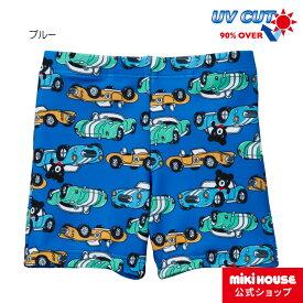 ミキハウス ダブルビー mikihouse スポーツカープリント3分丈水着(120cm・130cm) キッズ 子供 こども 水着 男の子 UVカット スイムパンツ
