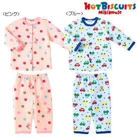 【アウトレット】ミキハウス ホットビスケッツ mikihouse ビーンズ&キャビット 前開きニットキルトパジャマ(80cm-120cm) 男の子 女の子