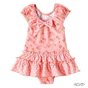 ミキハウス ホットビスケッツ mikihouse ドットフリル付き♪キャビットちゃんワンピース水着(80cm・90cm) ベビー 赤ちゃん 水遊び 女の子 ピンク