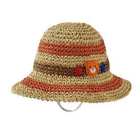 【アウトレット】ミキハウス ホットビスケッツ mikihouse ビーンズくん☆麦わら風ハット(帽子)〈S-L(46cm-56cm)〉男の子 女の子 帽子 かわいい こども ss202106_3f