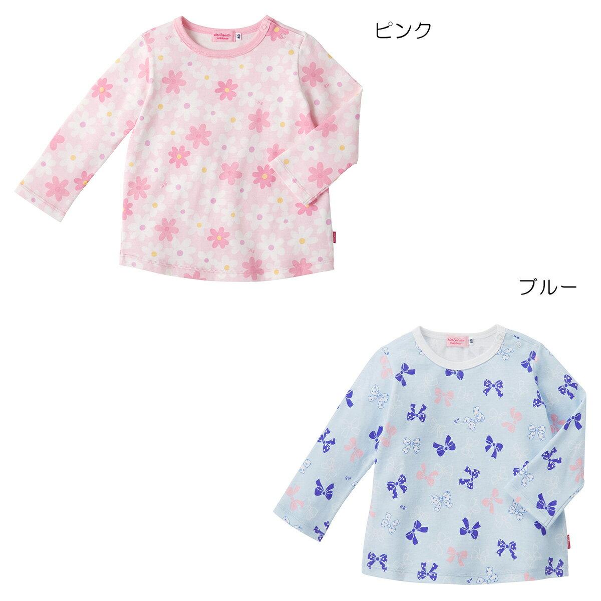 ミキハウス ホットビスケッツ mikihouse お花&リボン柄プリント長袖Tシャツ(70cm-110cm)