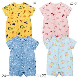 ミキハウス ホットビスケッツ mikihouse クレープ素材のショートオール(70cm・80cm) ベビー服 子供服 ロンパース 女の子 男の子 前開き