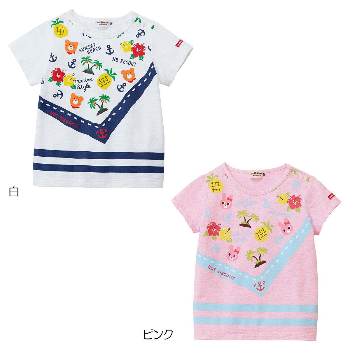 ミキハウス ホットビスケッツ mikihouse バンダナプリント半袖Tシャツ(80cm-110cm)