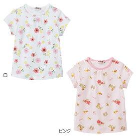 ミキハウス ホットビスケッツ mikihouse 南国&お花 総柄プリント半袖Tシャツ(80cm-110cm) 女の子 半そで かわいい こども 子供服