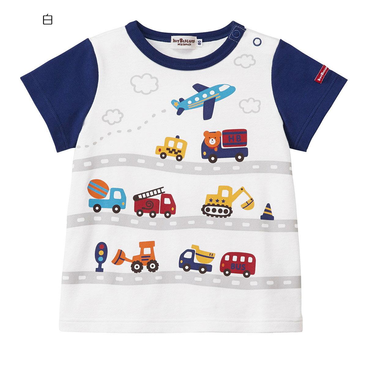 ミキハウス ホットビスケッツ mikihouse 乗り物いっぱい半袖Tシャツ(80cm・90cm・100cm・110cm)