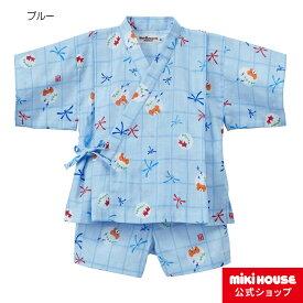 d655799c53cb6 ミキハウス ホットビスケッツ mikihouse とんぼ&金魚柄ガーゼ甚平スーツ(80cm-110cm)