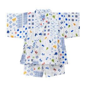 ミキハウス mikihouse 二重織ガーゼ☆パッチワーク柄プッチー甚平スーツ(100cm・110cm) キッズ 子供服 こども 子供 男の子 甚平 浴衣
