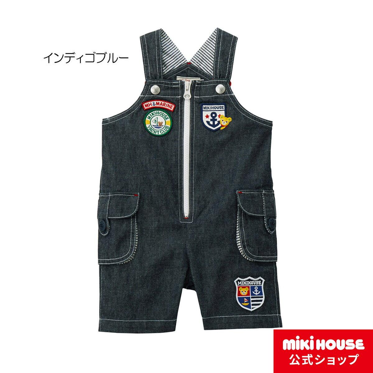ミキハウス mikihouse マリンワッペン☆プッチー5分丈オーバーオール(70cm・80cm・90cm)