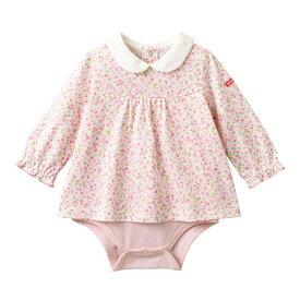 ミキハウス mikihouse 白襟付き 小花柄長袖ボディシャツ(70cm・80cm・90cm)
