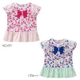 【アウトレット】ミキハウス mikihouse リーナちゃん♪フリル付き花柄半袖Tシャツ(80cm・90cm) 女の子