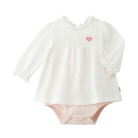 ミキハウス mikihouse おしゃれな透かし編み 長袖ボディシャツ(70cm・80cm) ベビー服 子供服 ロンパース 女の子 かわいい