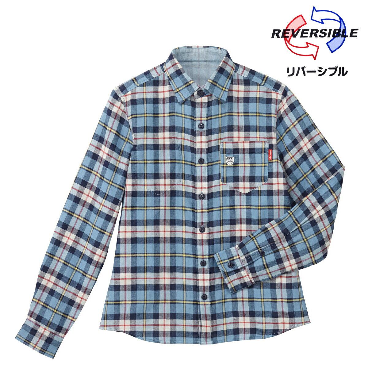 公式ショップ【ミキハウス】リバーシブル長袖チェックシャツ(大人用)〈M-L(165cm-185cm)〉